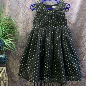 Gymboree Metalic Silver Polkadot on Black Dress